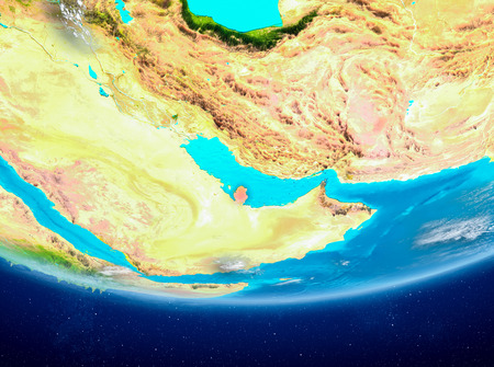 Qatar highlighted in red on planet Earth with clouds. 3D illustration.