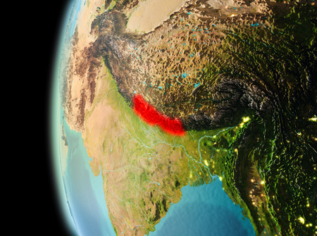 Illustration of Nepal as seen from Earth's orbit in late evening. 3D illustration.