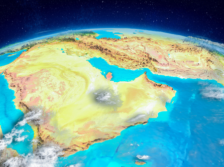 Orbit view of Qatar highlighted in red on planet Earth with highly detailed surface textures. 3D illustration. Stock Photo