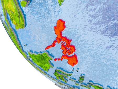 Map of Philippines in red on globe with real planet surface, embossed countries with visible country borders and water in the oceans. 3D illustration. Stock Illustration - 98209474