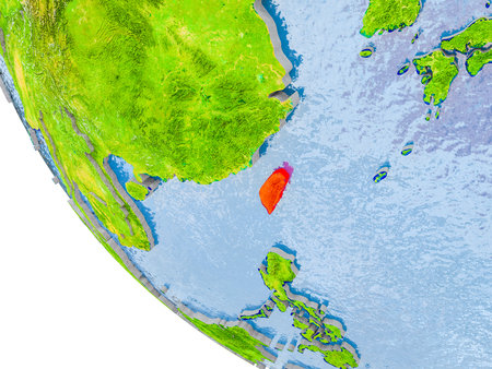 Map of Taiwan in red on globe with real planet surface, embossed countries with visible country borders and water in the oceans. 3D illustration. Stock Photo