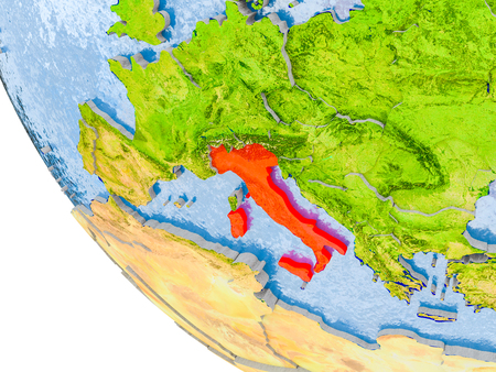 Map of Italy in red on globe with real planet surface, embossed countries with visible country borders and water in the oceans. 3D illustration. Stock Photo
