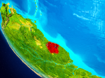 Suriname highlighted in red on planet Earth. 3D illustration. Stockfoto