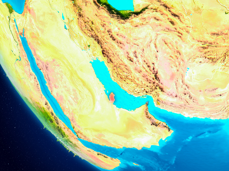 Qatar highlighted in red on planet Earth. 3D illustration. Stock Photo