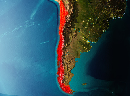 Chile in early morning light highlighted in red on planet Earth. 3D illustration.