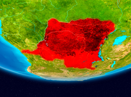 Democratic Republic of Congo from orbit of planet Earth. 3D illustration.