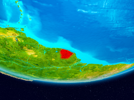 French Guiana from orbit of planet Earth. 3D illustration. Stock Photo