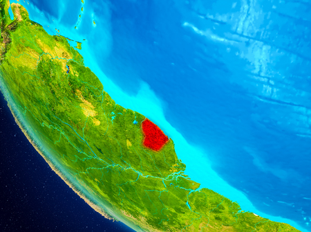 French Guiana highlighted in red on planet Earth. 3D illustration.