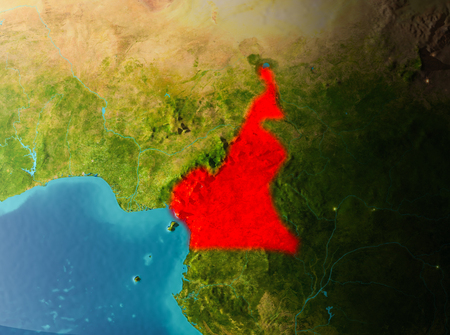 Cameroon in early morning light highlighted in red on planet Earth. 3D illustration.