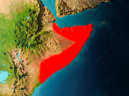 Somalia in early morning light highlighted in red on planet Earth. 3D illustration. Stock Photo