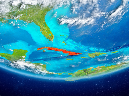 Cuba highlighted in red on planet Earth with clouds. 3D illustration.