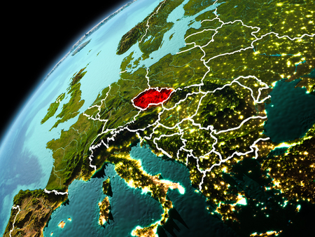 Illustration of Czech republic as seen from Earth's orbit in late evening with visible border lines and city lights. 3D illustration.