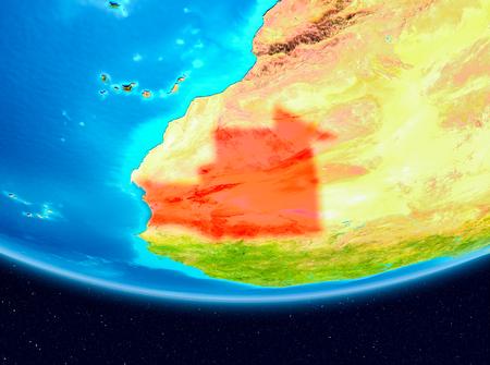Mauritania from orbit of planet Earth. 3D illustration. Фото со стока