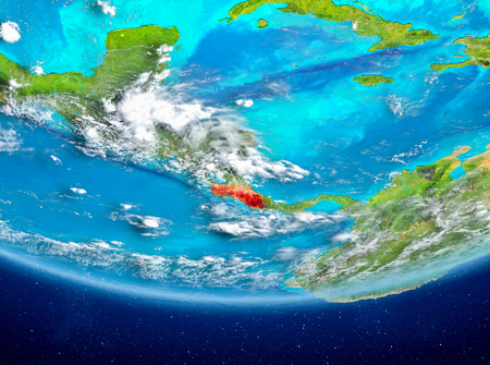 Costa Rica highlighted in red on planet Earth with clouds. 3D illustration.