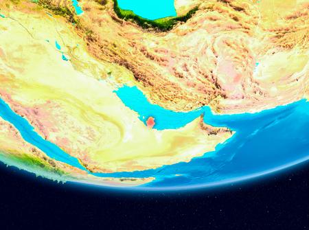 Qatar from orbit of planet Earth. 3D illustration.