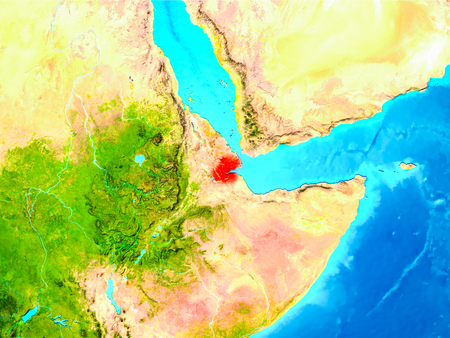 Djibouti highlighted in red on planet Earth. 3D illustration.