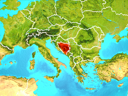 Bosnia and Herzegovina highlighted in red from Earth's orbit. 3D illustration.
