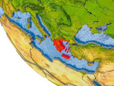 Map of Greece in red on globe with real planet surface, embossed countries with visible country borders and water in the oceans. 3D illustration. Stock Photo