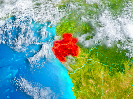 Gabon highlighted in red on planet Earth. 3D illustration.