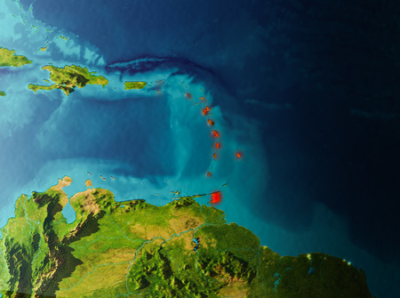 Caribbean in early morning light highlighted in red on planet Earth. 3D illustration.