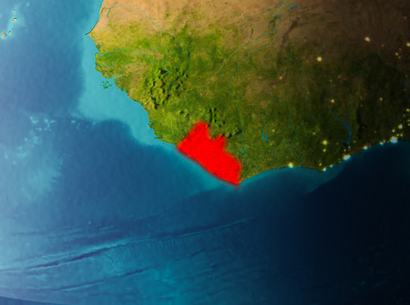 Liberia in early morning light highlighted in red on planet Earth. 3D illustration.