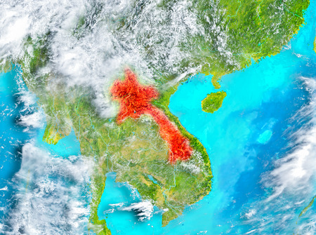 Laos highlighted in red on planet Earth. 3D illustration.