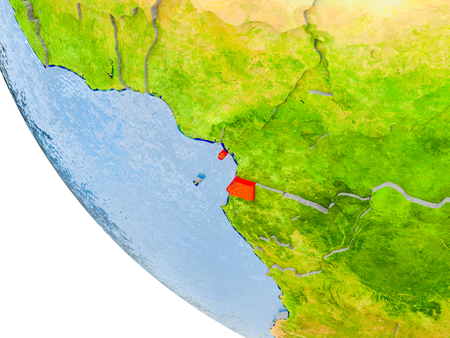 Map of Equatorial Guinea in red on globe with real planet surface, embossed countries with visible country borders and water in the oceans. 3D illustration. Stock Photo