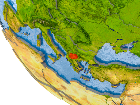 Map of Macedonia in red on globe with real planet surface, embossed countries with visible country borders and water in the oceans. 3D illustration. Stock Photo