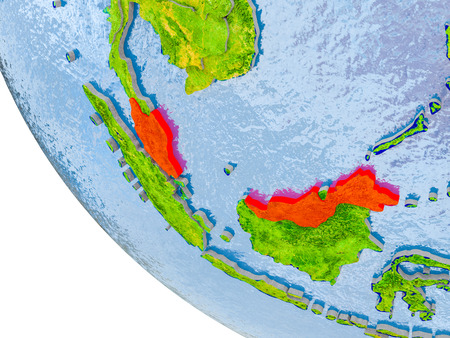 Map of Malaysia in red on globe with real planet surface, embossed countries with visible country borders and water in the oceans. 3D illustration