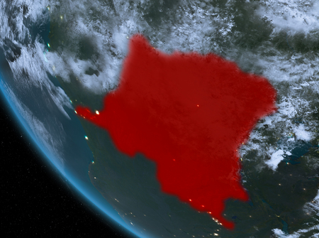 Democratic Republic of Congo at night highlighted in red on planet Earth with clouds. 3D illustration.  . Stock Photo