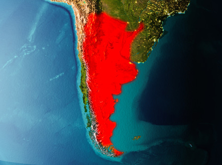 Argentina in early morning light highlighted in red on planet Earth. 3D illustration.