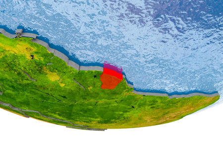 French Guiana on 3D model of globe with real land surface, visible country borders and water in place of ocean. 3D illustration. Stock Photo