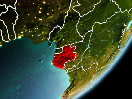 Gabon in early morning light highlighted in red on planet Earth with visible border lines and city lights. 3D illustration. Stock Photo
