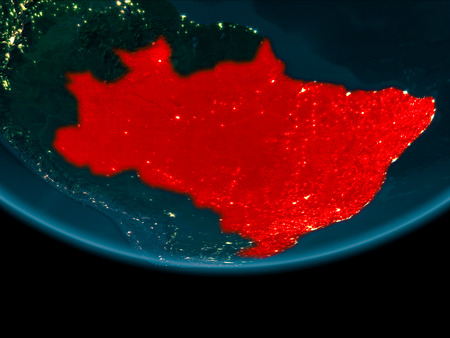 Brazil at night highlighted in red on planet Earth. 3D illustration. Stock Photo