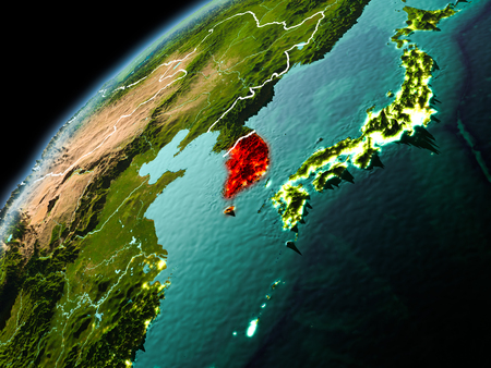 Illustration of South Korea as seen from Earth's orbit in late evening with visible border lines and city lights. 3D illustration.