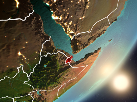 Djibouti from space with highly detailed surface textures and visible country borders. 3D illustration.