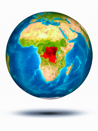 Democratic Republic of Congo in red on model of planet Earth hovering in space. 3D illustration isolated on white background.