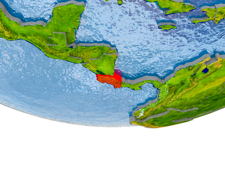 Costa Rica on 3D model of globe with real land surface, visible country borders and water in place of ocean. 3D illustration.