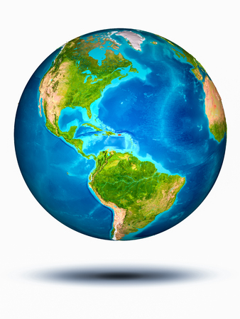 Puerto Rico in red on model of planet Earth hovering in space. 3D illustration isolated on white background.