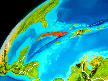 Orbit view of Cuba highlighted in red with visible borderlines on planet Earth. 3D illustration.