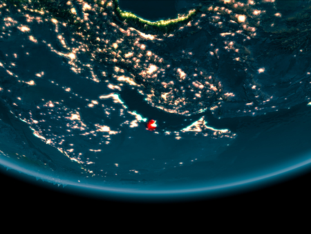 Qatar at night highlighted in red on planet Earth. 3D illustration.