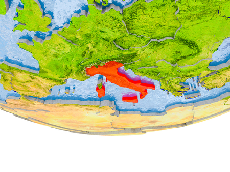 Italy on 3D model of globe with real land surface, visible country borders and water in place of ocean. 3D illustration.