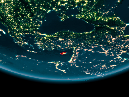 Cyprus at night highlighted in red on planet Earth. 3D illustration.