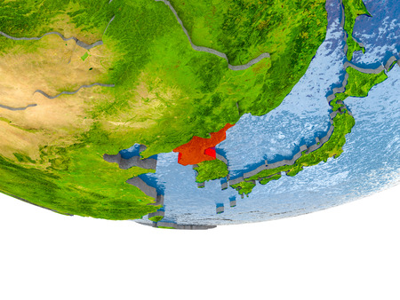 North Korea on 3D model of globe with real land surface, visible country borders and water in place of ocean. 3D illustration.