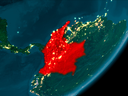 Night view of Colombia highlighted in red on planet Earth with atmosphere. 3D illustration.