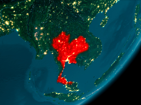 Night view of Thailand highlighted in red on planet Earth with atmosphere. 3D illustration.