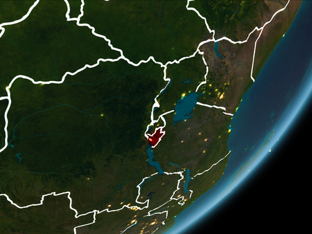 Burundi as seen from Earth's orbit on planet Earth at night highlighted in red with visible borders and city lights. 3D illustration.