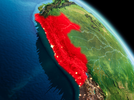 Satellite morning view of Peru highlighted in red on planet Earth. 3D illustration. Stock Photo