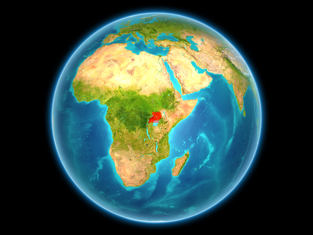 Uganda in red on planet Earth as seen from space on full sphere. 3D illustration.