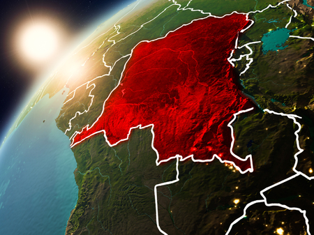 Democratic Republic of Congo during sunset highlighted in red on planet Earth with visible country borders. 3D illustration.